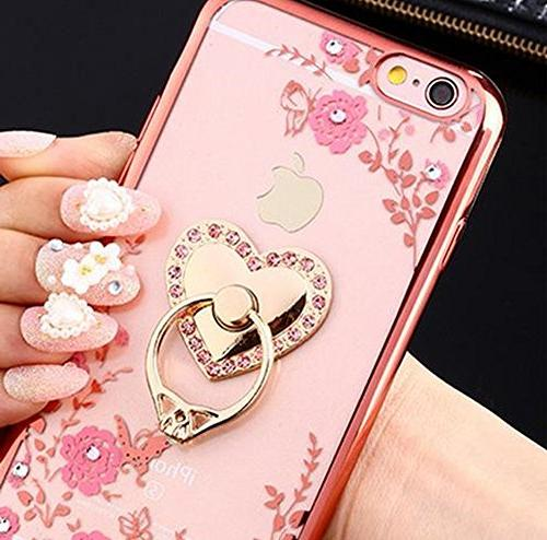 iPhone Plus Floral Crystal Soft Slim Plating Cover for Plus Inch Rhinestone Diamond Detachable 360 Gold and Pink