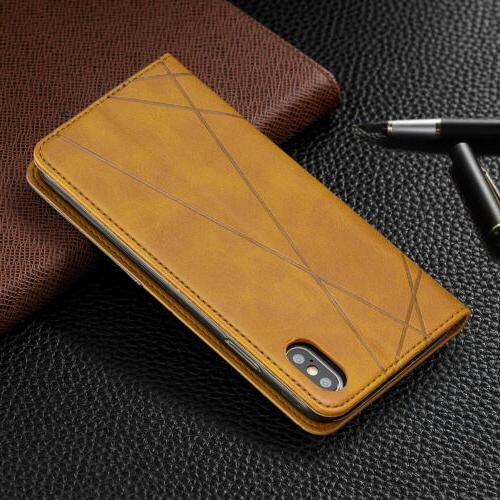 For iPhone 8 Plus 7 6s Leather Magnetic