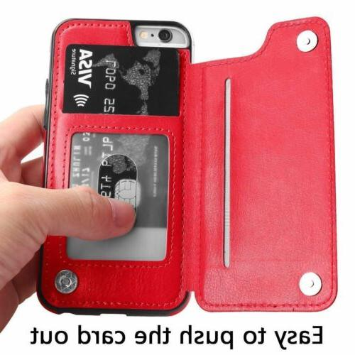 For 6S 7 8 Plus Leather Case Flip Cover