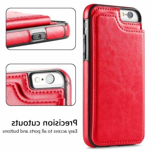 For SE 6S 8 XR XS Leather Flip Cover