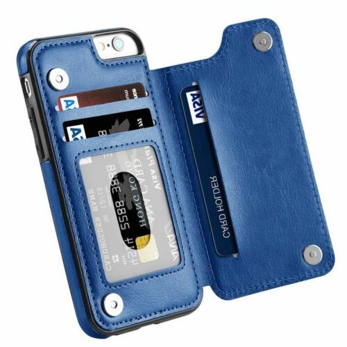For 6S 7 8 XR XS Business Leather Case Flip Cover