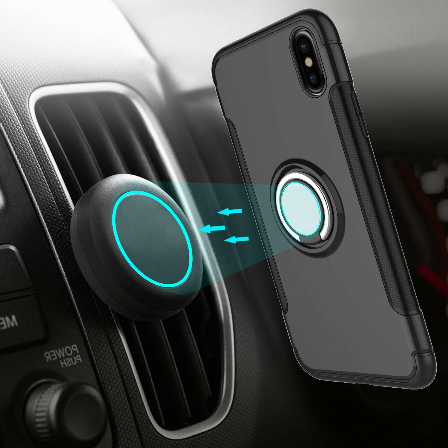 For iPhone 8 7 Plus Car Magnetic Ring Ultra-Slim Stand Cover