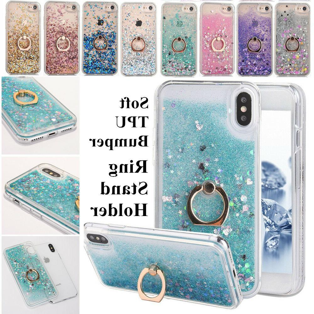 Iphone X Clear Cover Fun Holder Stand Glitter Liquid New + C