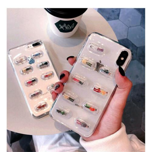 For iPhone XR 8 6s Plus Pill Clear Case