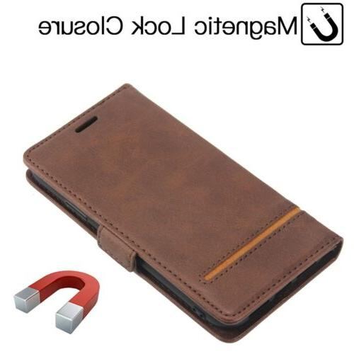 For iPhone XR 7 Magnetic Flip Card Wallet Leather Cover