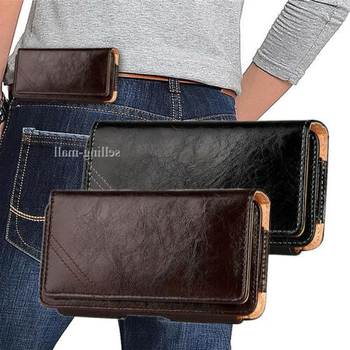 leather cell phone iphone horizontal carrying pouch