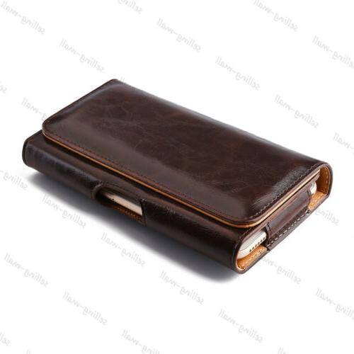 Leather Rugged Cell Phone Case Clip Belt Cover Black