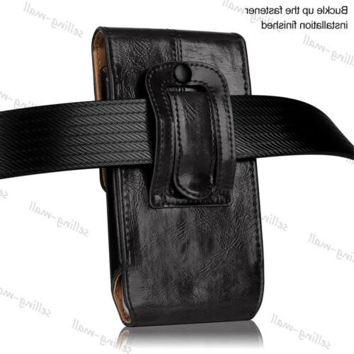 Leather Cell Case Holster Clip Belt Black