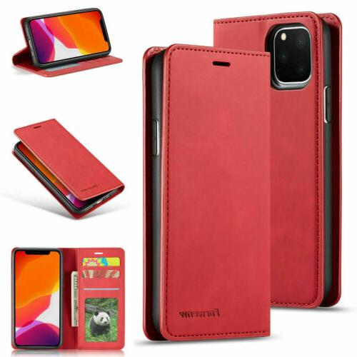Magnetic Leather Wallet Case For 11 Pro X 8 6S