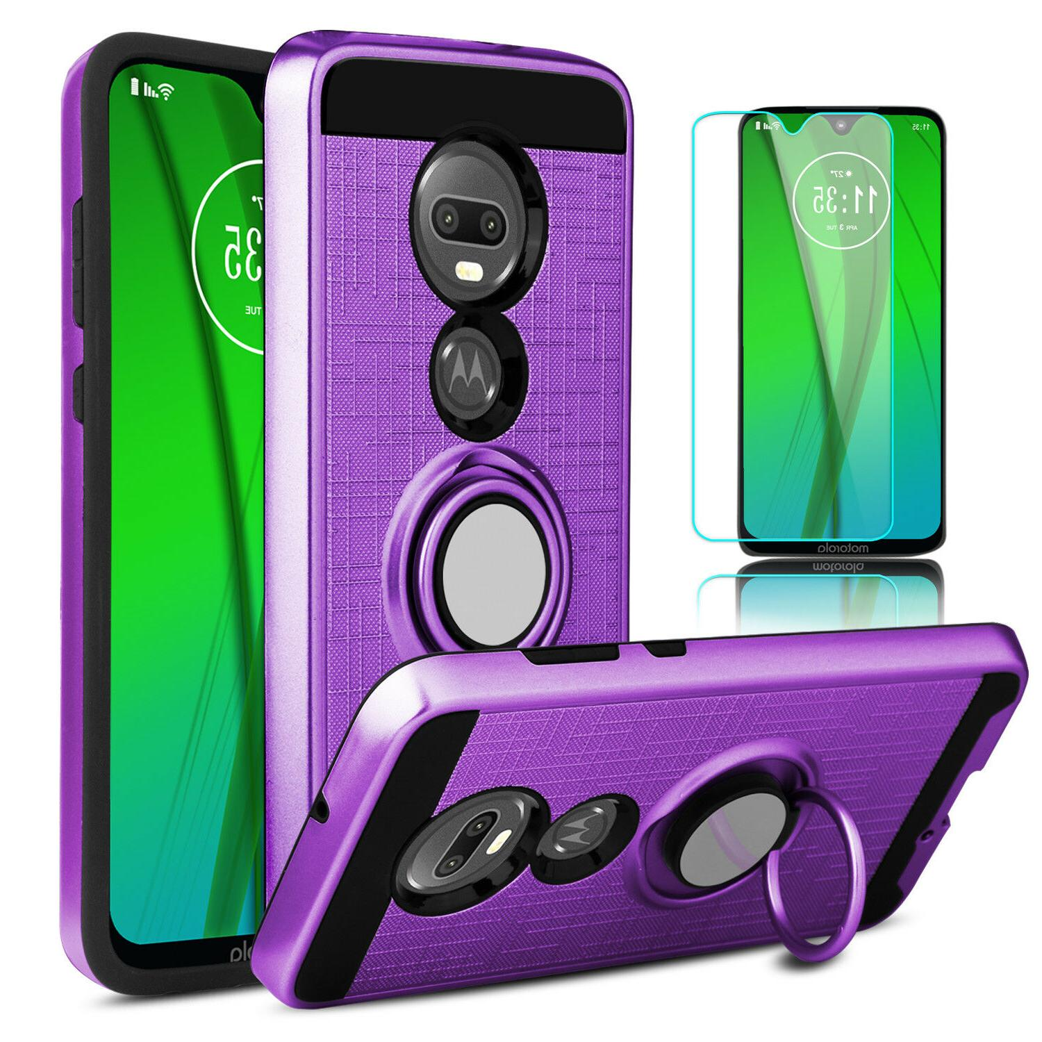 For Motorola Case Stand + Glass Screen Protector