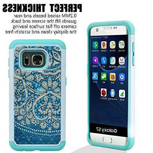 S7 Case, Absorption, Studded Hybrid Dual Layer Armor Protective Samsung