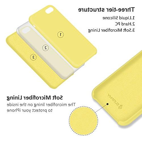 SURPHY Silicone Case iPhone 8 Case, Soft Slim Rubber Protective 7 Yellow