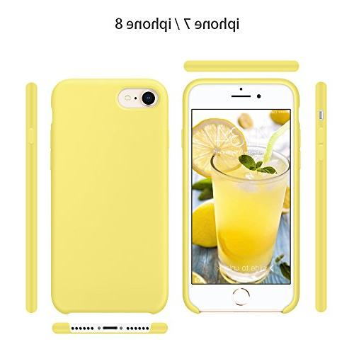 """SURPHY iPhone Case, Liquid Slim Rubber Protective Phone Case for 7 iPhone 8 4.7"""", Yellow"""