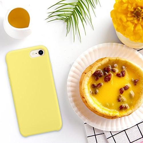 SURPHY Silicone Case iPhone 8 Case, Soft Slim Rubber Case 7 Yellow