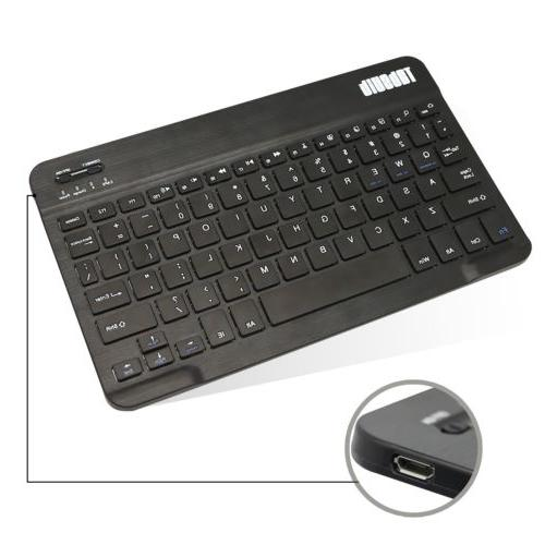 PU Leather Bluetooth Keyboard Case Cover Stand For