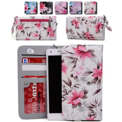 Women's Flower Pattern Wallet Case Cover for Smart Cell Phon