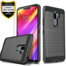 For LG G7 ThinQ Case, Shockproof Cover+Tempered Glass Protec