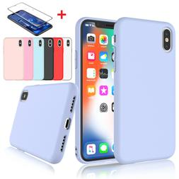 Liquid Silicone Case+Screen Protector for iPhone XR,XS Max,X