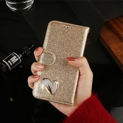 Luxury Diamond Synthetic Leather Magnetic Wallet Case For iP