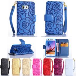 Luxury Flip Flower Strap Synthetic Leather Wallet Stand Case