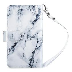 ULAK Marble Pattern Magnetic Flip Leather Wallet Case For Sa