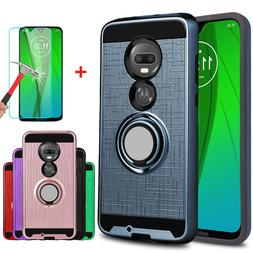 For Motorola Moto G7 Case Cover With Ring Stand Holder + Gla