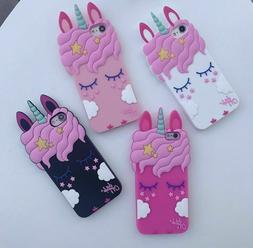 Pink Girly 3D Cute Unicorn Phone Case Protective Silicone Ge