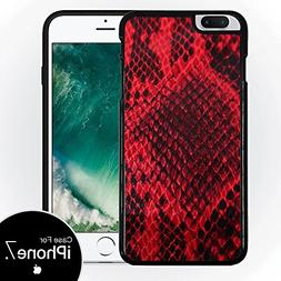 Red Snakeskin Black Silicone Case for iPhone 7  by Compass L