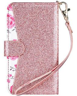 Samsung Galaxy S7 Case Wallet Bling Leather Case Kickstand S