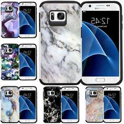 For Samsung Galaxy S7 Marble Design Hybrid Armor Case Protec