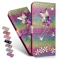 For Samsung S10 Plus/S9/S8/Note 9/8 Bling Leather Card Walle