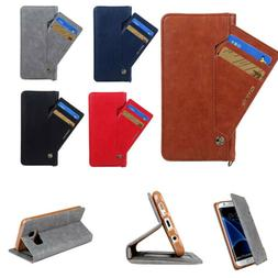 Synthetic Leather Protector Flip Card Slot Wallet Case Cover