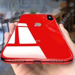 Tempered Glass Phone Case For iPhone Xs Max 7 8 Plus Cover L