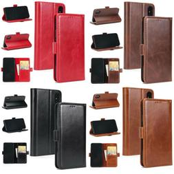 Wallet Magnetic Card Synthetic Leather Case Cover For Brown